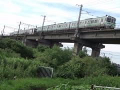 緑地からのJR千歳線高架。2010年7月撮影